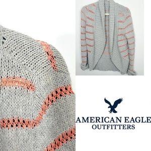American Eagle  Grey Peach Sparkle Cardigan